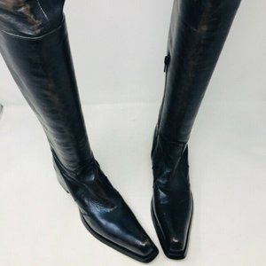 Gianni Barbato Leather Over the Knee Pointed Boot
